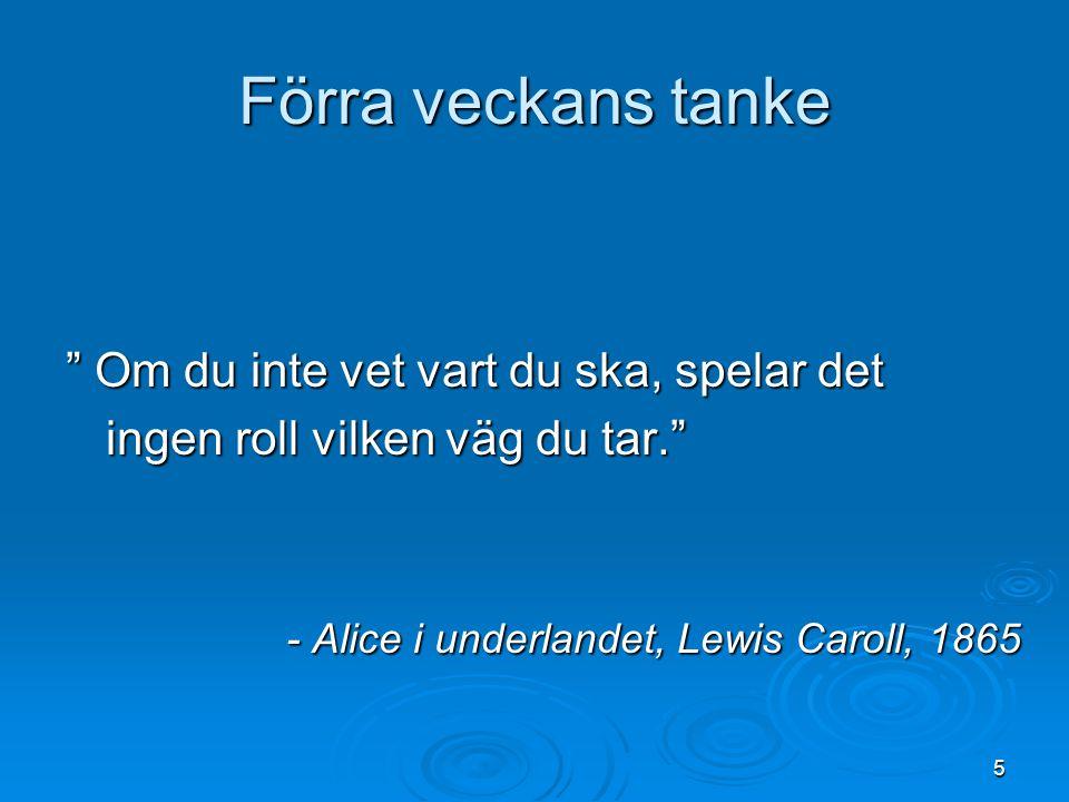 """Förra veckans tanke """" Om du inte vet vart du ska, spelar det ingen roll vilken väg du tar."""" - Alice i underlandet, Lewis Caroll, 1865 5"""