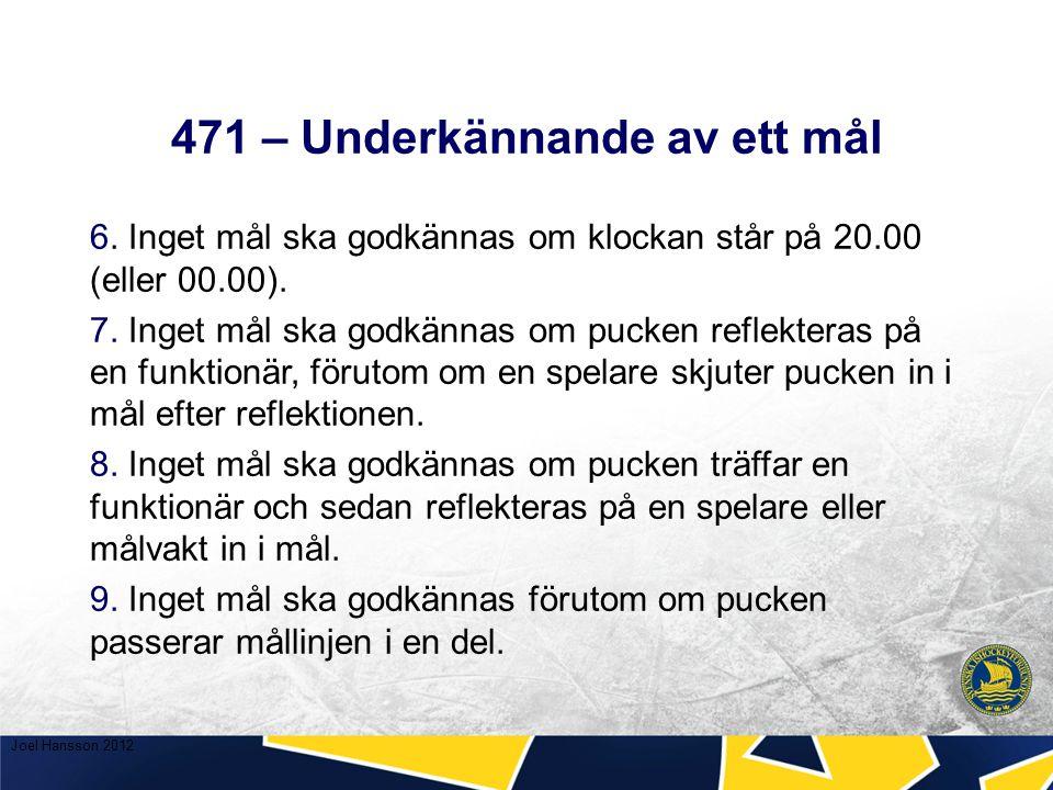 471 – Underkännande av ett mål 6. Inget mål ska godkännas om klockan står på 20.00 (eller 00.00).