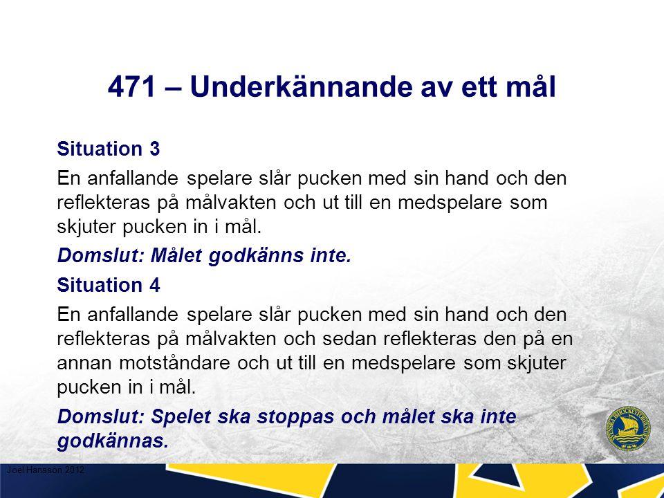 471 – Underkännande av ett mål Situation 3 En anfallande spelare slår pucken med sin hand och den reflekteras på målvakten och ut till en medspelare som skjuter pucken in i mål.