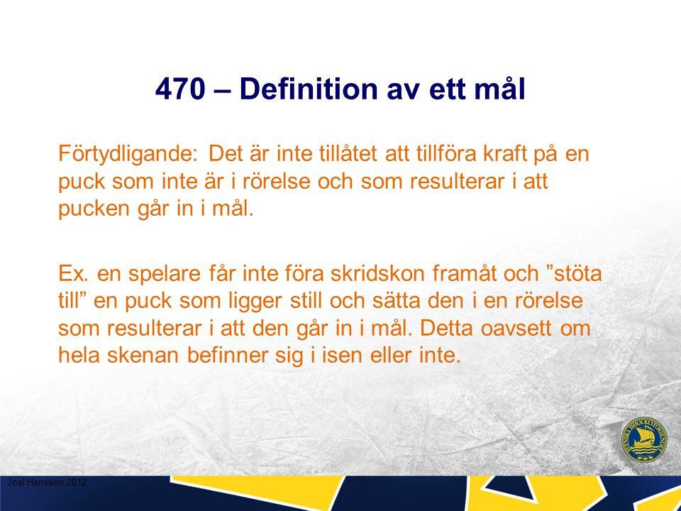 470 – Definition av ett mål Förtydligande: Det är inte tillåtet att tillföra kraft på en puck som inte är i rörelse och som resulterar i att pucken går in i mål.