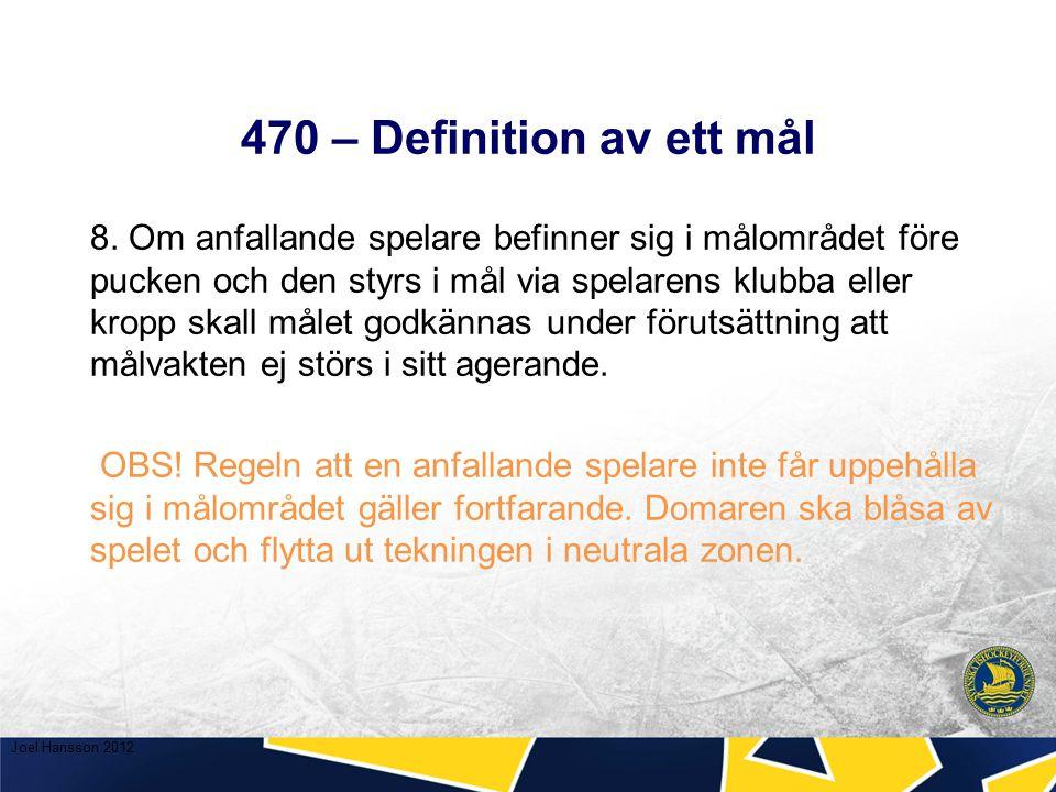 470 – Definition av ett mål Situation 3 En spelare dirigerar pucken in i mål med sin skridsko.