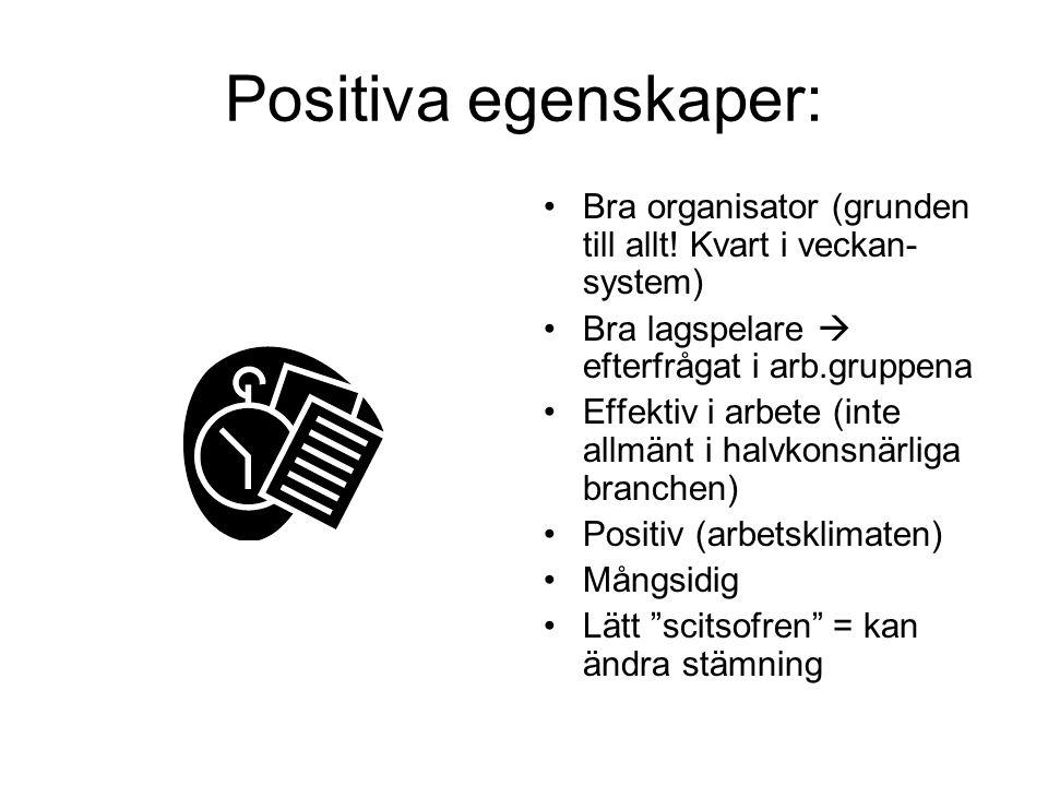 Positiva egenskaper: •Bra organisator (grunden till allt.