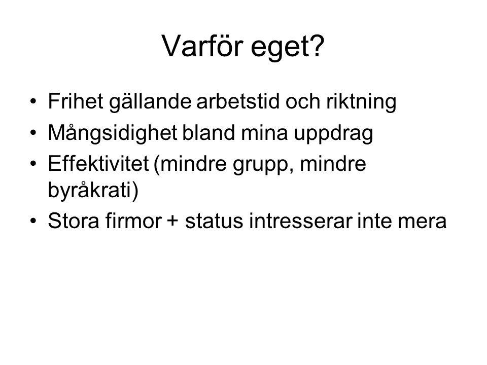 Egentliga orsaker •Småbarn (3 + 7 år) •Flyttade till Åland 6 år sedan •Efterfrågan – arbete finns •Lätt att starta eget i branchen – inga stora investeringar