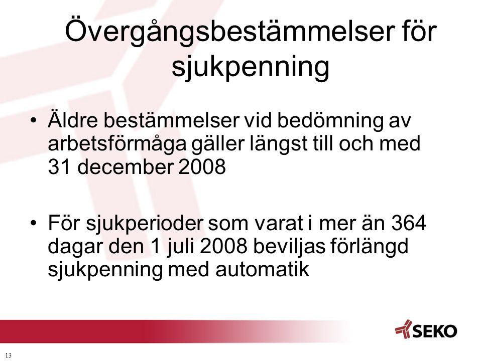 13 Övergångsbestämmelser för sjukpenning •Äldre bestämmelser vid bedömning av arbetsförmåga gäller längst till och med 31 december 2008 •För sjukperio