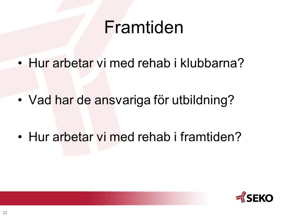 22 Framtiden •Hur arbetar vi med rehab i klubbarna? •Vad har de ansvariga för utbildning? •Hur arbetar vi med rehab i framtiden?