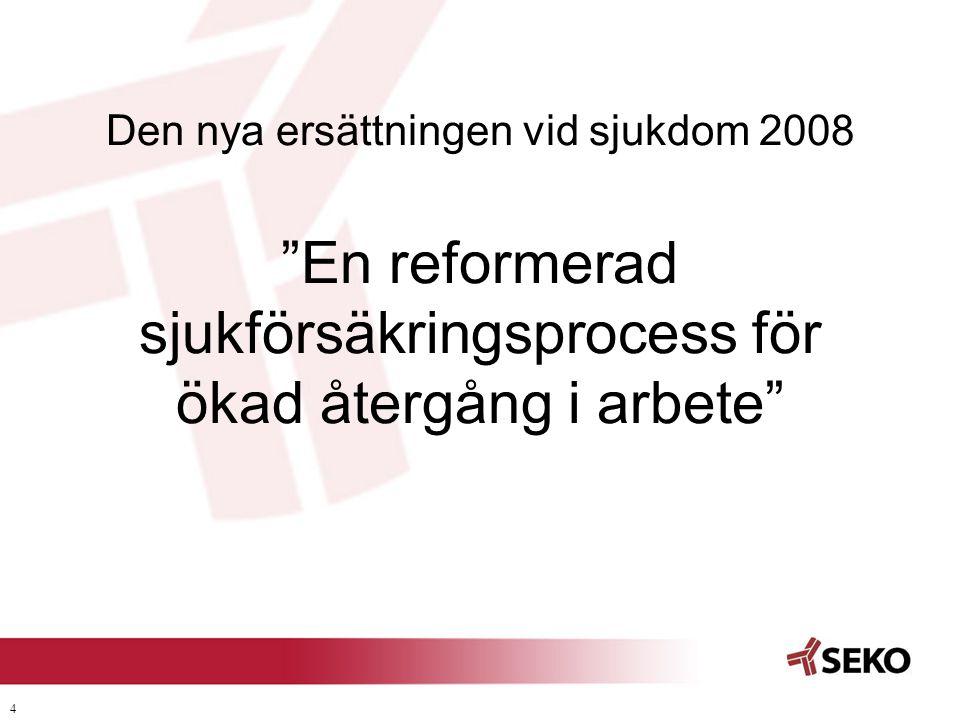 """4 Den nya ersättningen vid sjukdom 2008 """"En reformerad sjukförsäkringsprocess för ökad återgång i arbete"""""""
