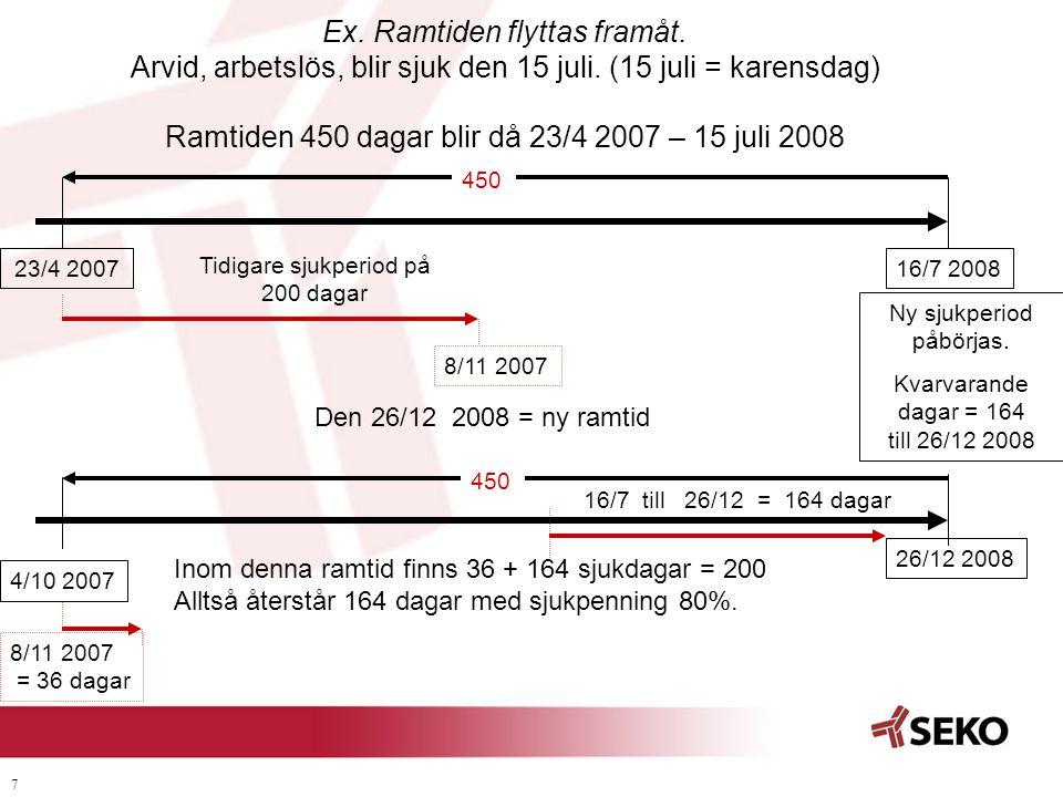 7 Ex. Ramtiden flyttas framåt. Arvid, arbetslös, blir sjuk den 15 juli. (15 juli = karensdag) Ramtiden 450 dagar blir då 23/4 2007 – 15 juli 2008 Ny s