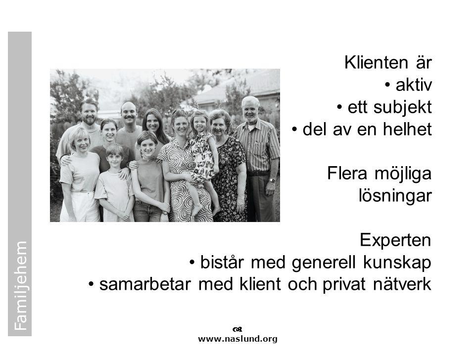 Familjehem  www.naslund.org Klienten är • aktiv • ett subjekt • del av en helhet Flera möjliga lösningar Experten • bistår med generell kunskap • sam