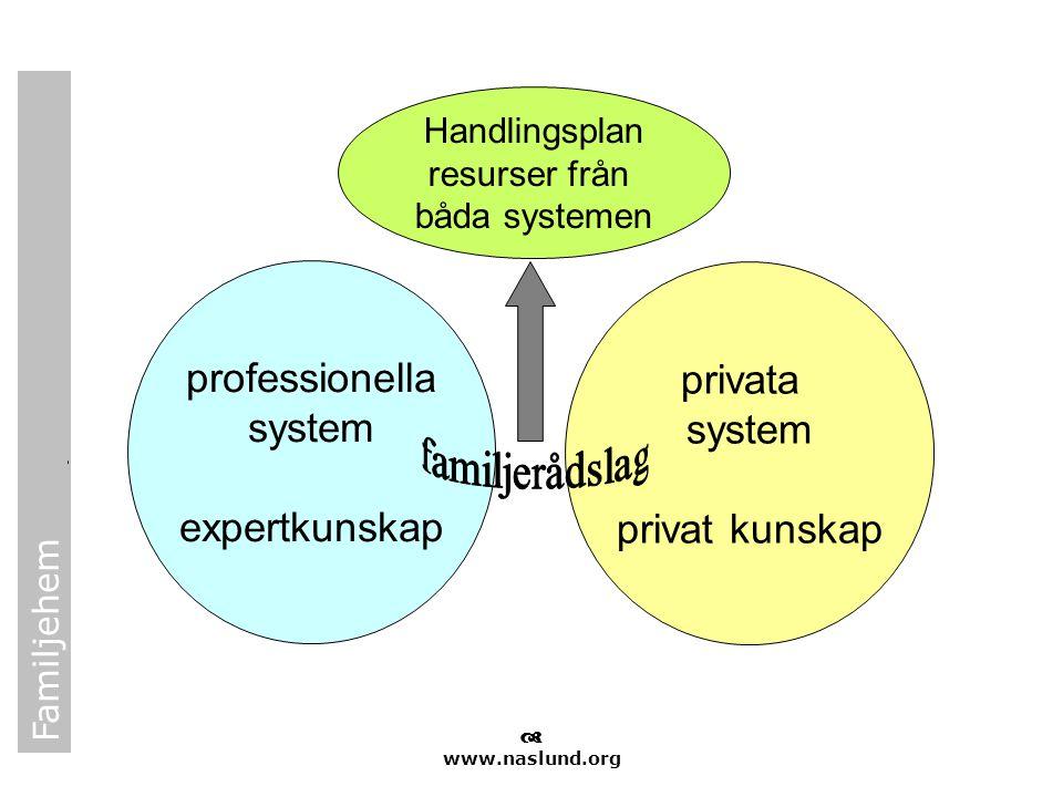 Familjehem  www.naslund.org professionella system expertkunskap privata system privat kunskap Handlingsplan resurser från båda systemen