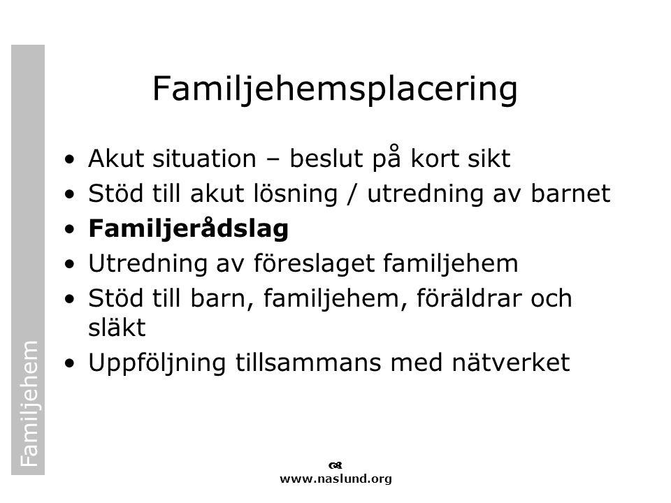 Familjehem  www.naslund.org Familjehemsplacering •Akut situation – beslut på kort sikt •Stöd till akut lösning / utredning av barnet •Familjerådslag