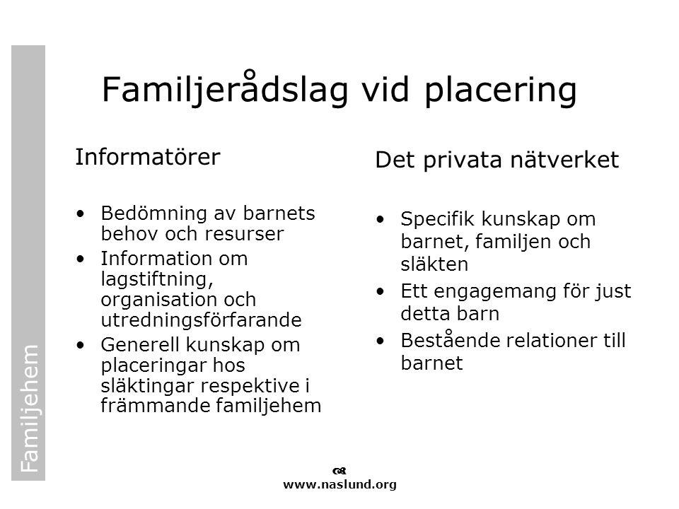 Familjehem  www.naslund.org Familjerådslag vid placering Informatörer •Bedömning av barnets behov och resurser •Information om lagstiftning, organisa