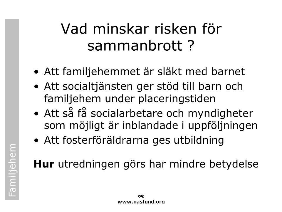 Familjehem  www.naslund.org Vad minskar risken för sammanbrott ? •Att familjehemmet är släkt med barnet •Att socialtjänsten ger stöd till barn och fa
