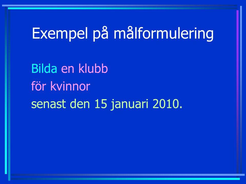 Exempel på målformulering Bilda en klubb för kvinnor senast den 15 januari 2010.