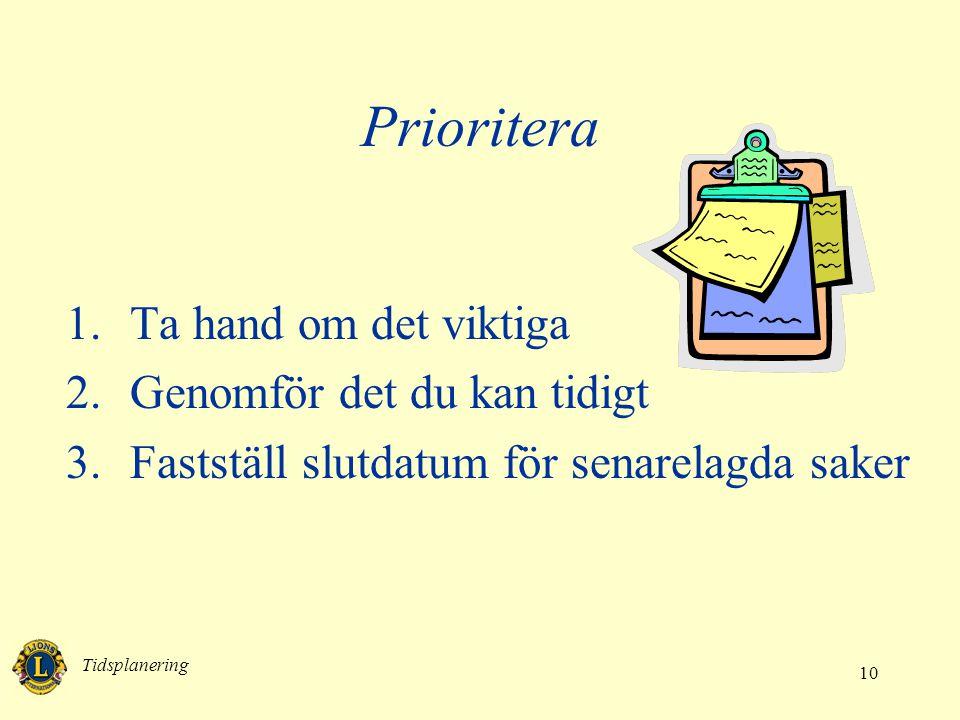 Tidsplanering 10 Prioritera 1.Ta hand om det viktiga 2.Genomför det du kan tidigt 3.Fastställ slutdatum för senarelagda saker
