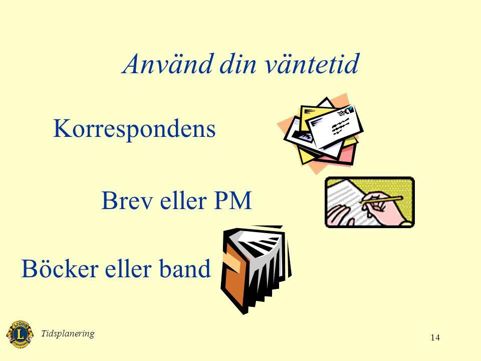 Tidsplanering 14 Använd din väntetid Korrespondens Brev eller PM Böcker eller band