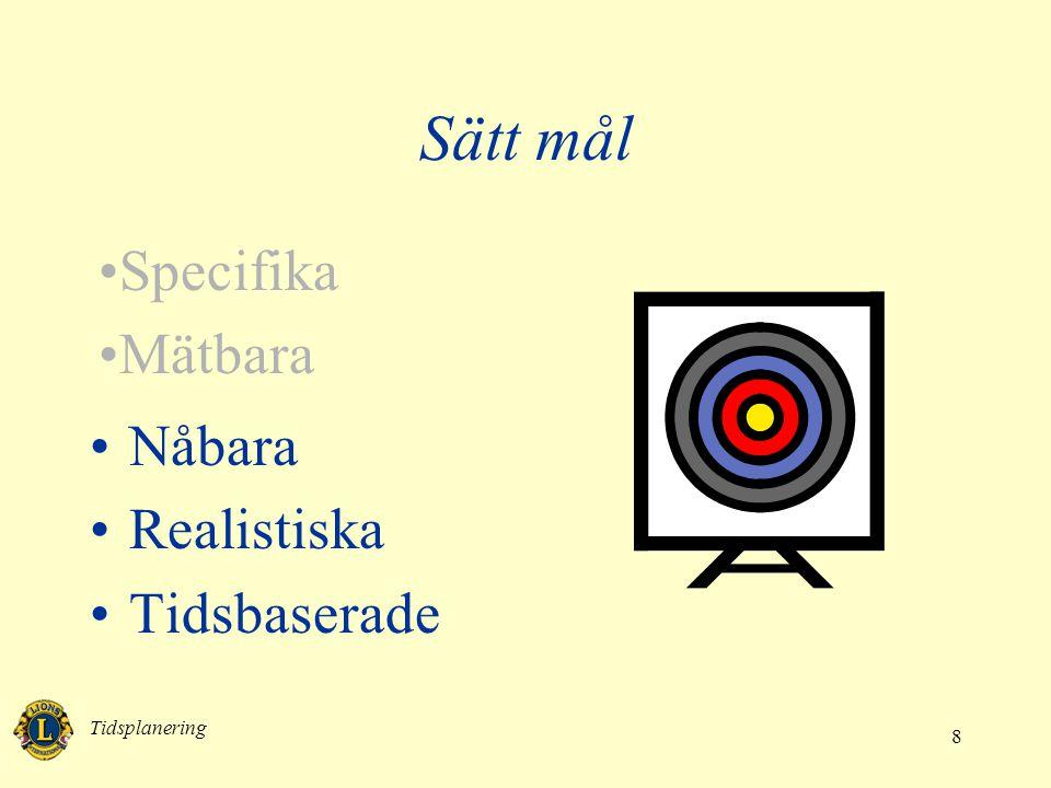 Tidsplanering 8 •Nåbara •Realistiska •Tidsbaserade Sätt mål •Specifika •Mätbara