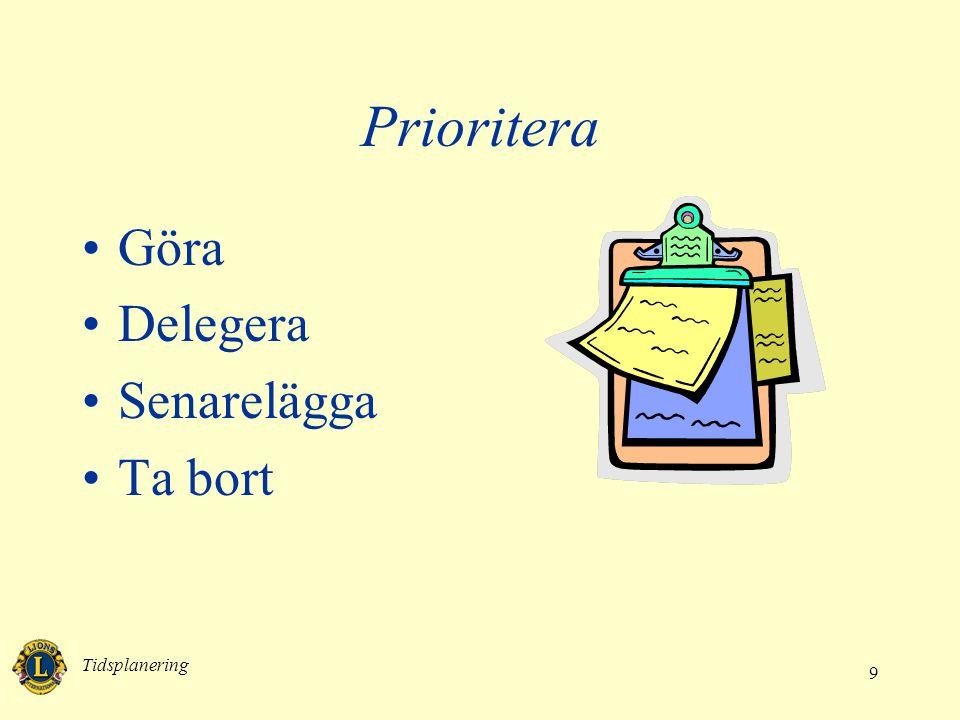 Tidsplanering 9 Prioritera •Göra •Delegera •Senarelägga •Ta bort