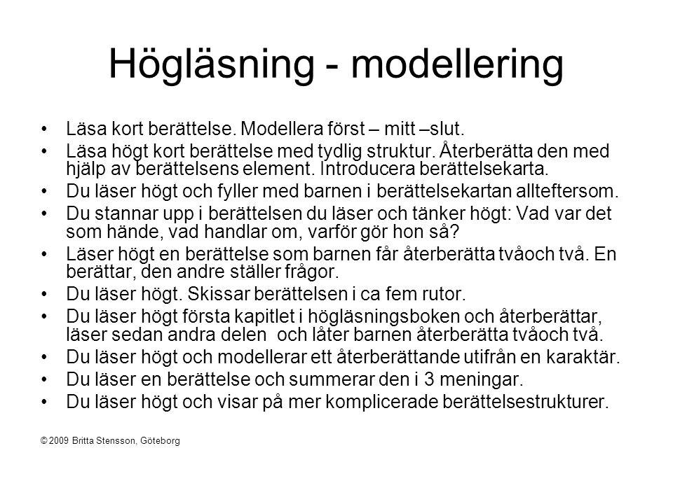 Mini-lektion Anknytning: Undervisningsmoment, visa: Pröva på: Koppla till det fortsatta arbetet: © 2009 Britta Stensson, Göteborg