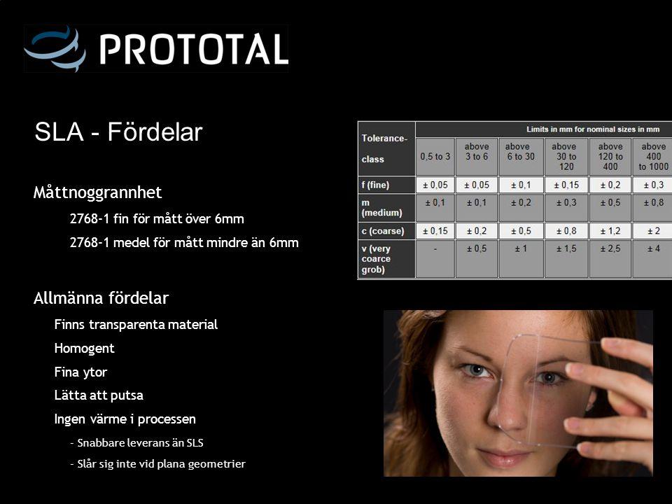 SLA - Fördelar Måttnoggrannhet 2768-1 fin för mått över 6mm 2768-1 medel för mått mindre än 6mm Allmänna fördelar Finns transparenta material Homogent