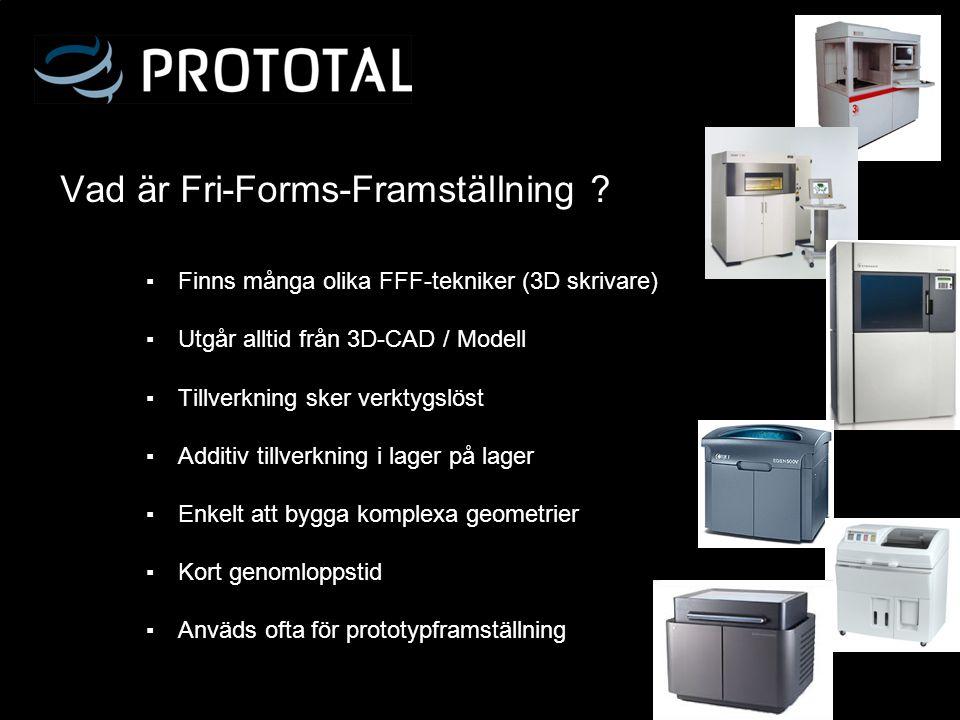 Vad är Fri-Forms-Framställning ? ▪ Finns många olika FFF-tekniker (3D skrivare) ▪ Utgår alltid från 3D-CAD / Modell ▪ Tillverkning sker verktygslöst ▪