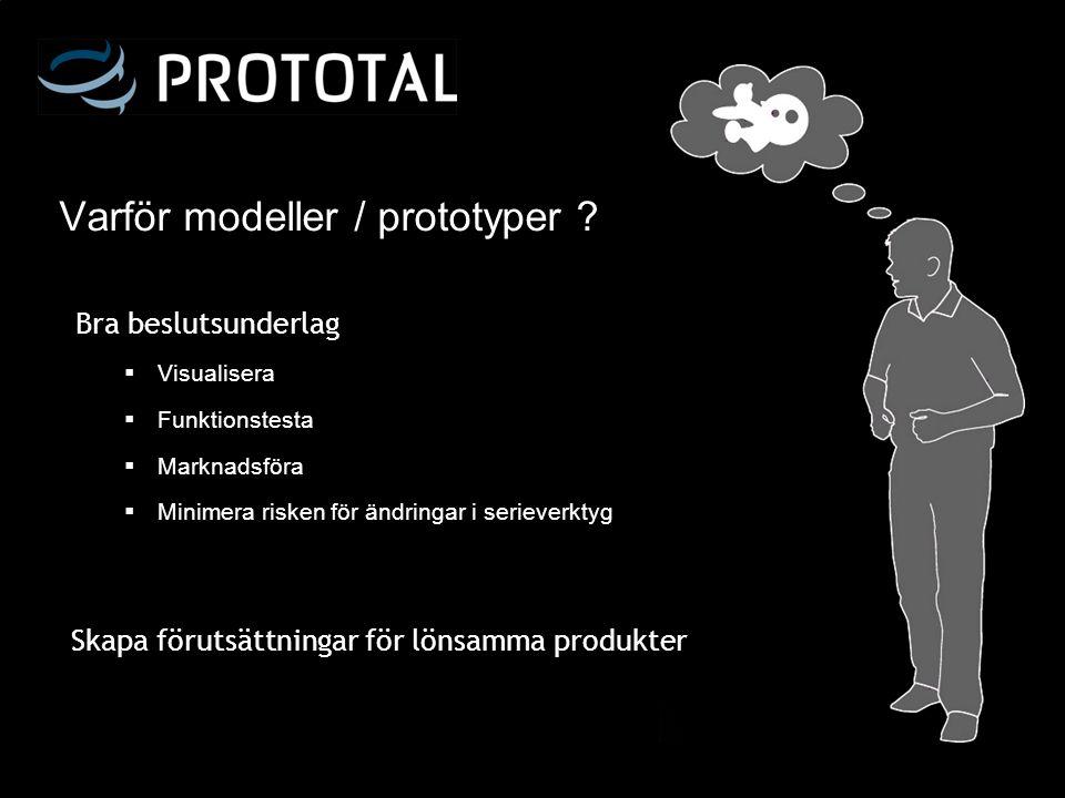 Varför modeller / prototyper ?  Visualisera  Funktionstesta  Marknadsföra  Minimera risken för ändringar i serieverktyg Skapa förutsättningar för