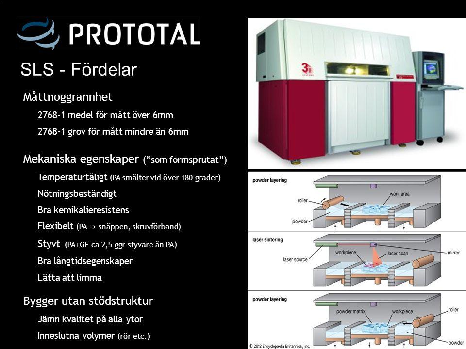 Vakuumgjutning - Process FFF-modell (vanligtvis SLA) Putsa och lacka mastermodell Limma på avluftningar och ingöt Tejpa delningslinje Gjut in master i silikon Härda form i ugn Dela formen/verktyget Värm upp form (70º) Fyll form med PUR i vakuum Låt detalj härda i form (70º) Detalj klar efter 30-300min Dela form, ta ut detalj Rensa och sätt ihop form Bearbeta detaljer Verktygstillverkning Detaljtillverkning