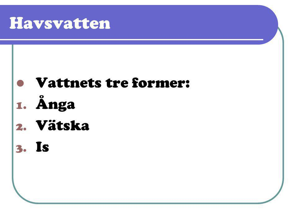  Vattnets tre former: 1. Ånga 2. Vätska 3. Is