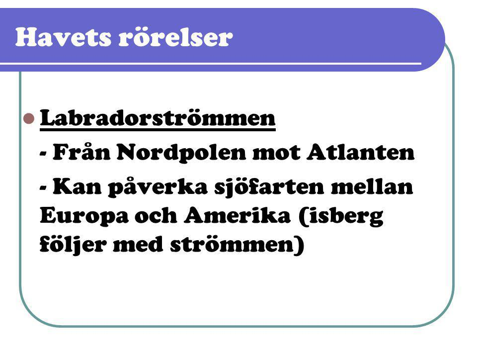 Havets rörelser  Labradorströmmen - Från Nordpolen mot Atlanten - Kan påverka sjöfarten mellan Europa och Amerika (isberg följer med strömmen)