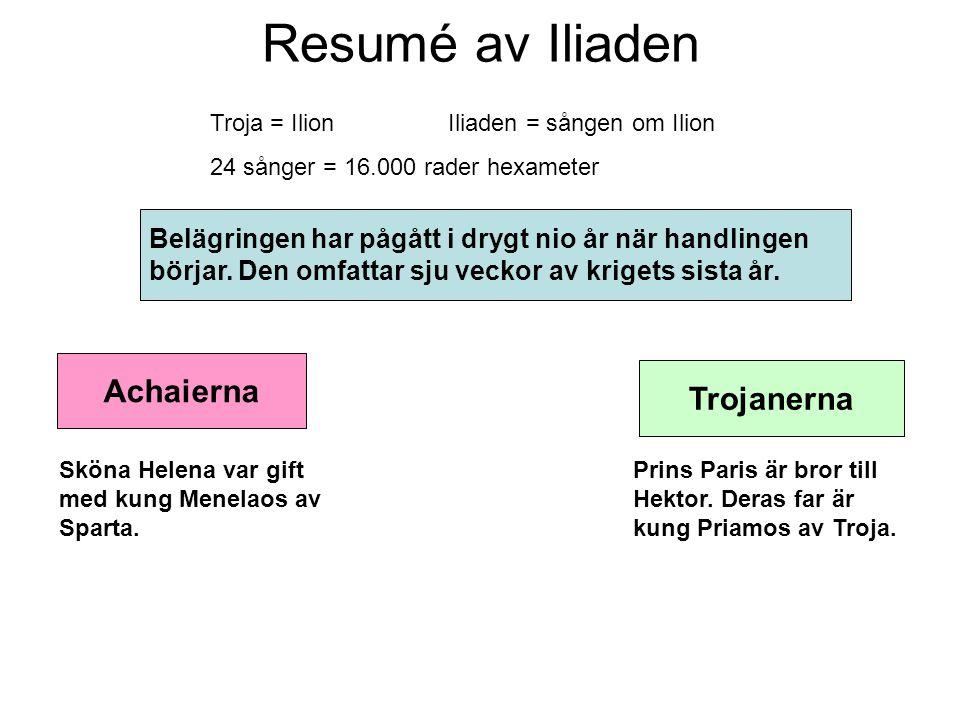 Resumé av Iliaden Troja = Ilion Iliaden = sången om Ilion 24 sånger = 16.000 rader hexameter Belägringen har pågått i drygt nio år när handlingen börj