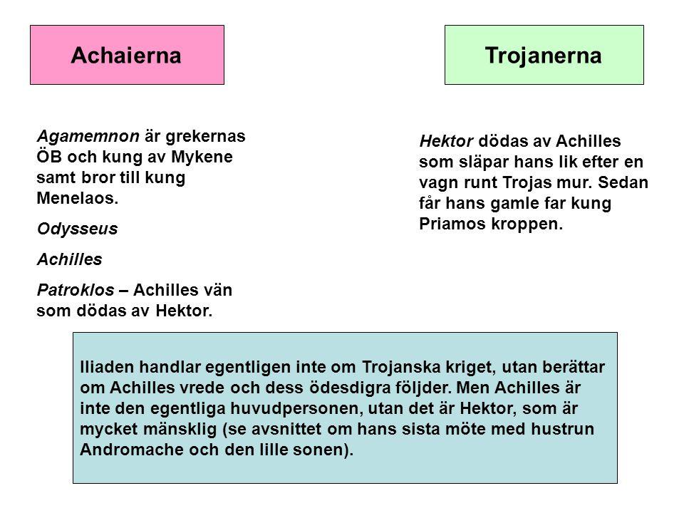 AchaiernaTrojanerna Agamemnon är grekernas ÖB och kung av Mykene samt bror till kung Menelaos. Odysseus Achilles Patroklos – Achilles vän som dödas av