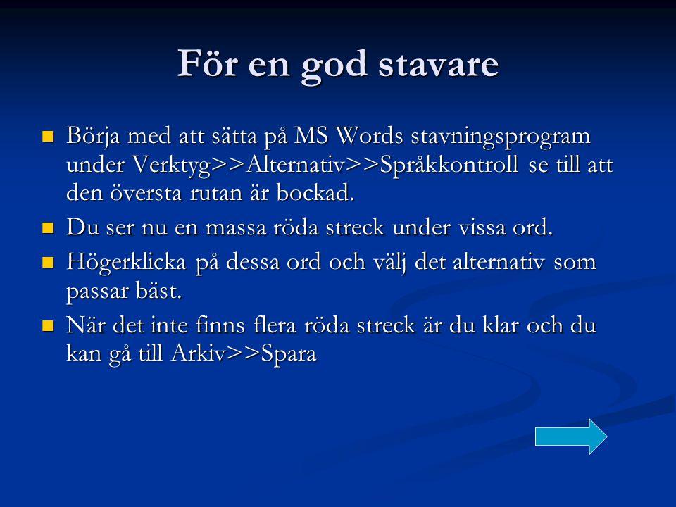 För en god stavare  Börja med att sätta på MS Words stavningsprogram under Verktyg>>Alternativ>>Språkkontroll se till att den översta rutan är bockad