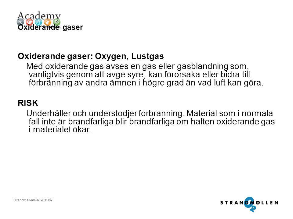 Strandmøllen/ver. 2011/02 Inaktiva gaser Inaktiva gaser: Argon, Nitrogen, Koldioxid Med en inaktiv (även kallad inert) gas menas att gasen är en ädelg