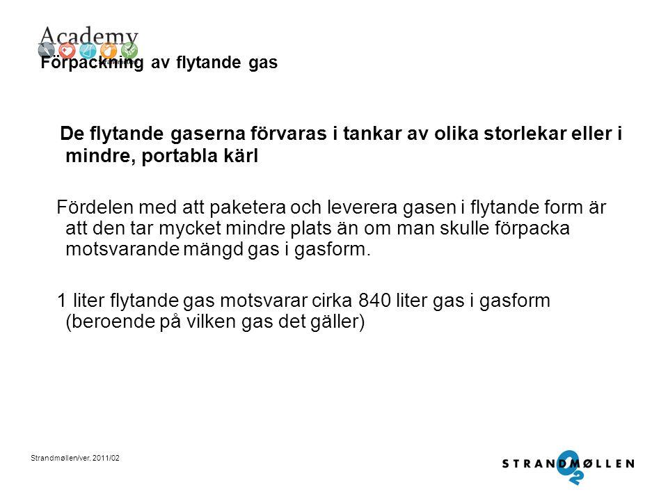 Strandmøllen/ver. 2011/02 Förpackningar & leveranssätt Gaser förpackas i huvudsak på tre olika sätt 1. I en tank eller kärl, gäller flytande gas 2. I