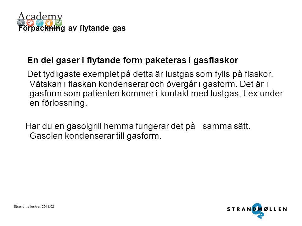 Strandmøllen/ver. 2011/02 Förpackning av flytande gas Oxygen till sjukhuset kommer oftast i flytande form Den syrgas du får från uttaget i väggen på d