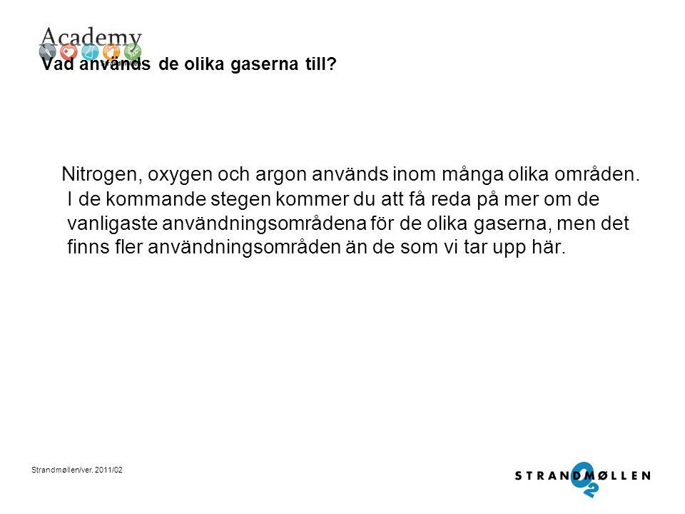 Strandmøllen/ver. 2011/02 Kokpunkterna Nitrogen (kväve): - 195,9 °C Argon: - 185,9 °C Oxygen (syre): -183 °C