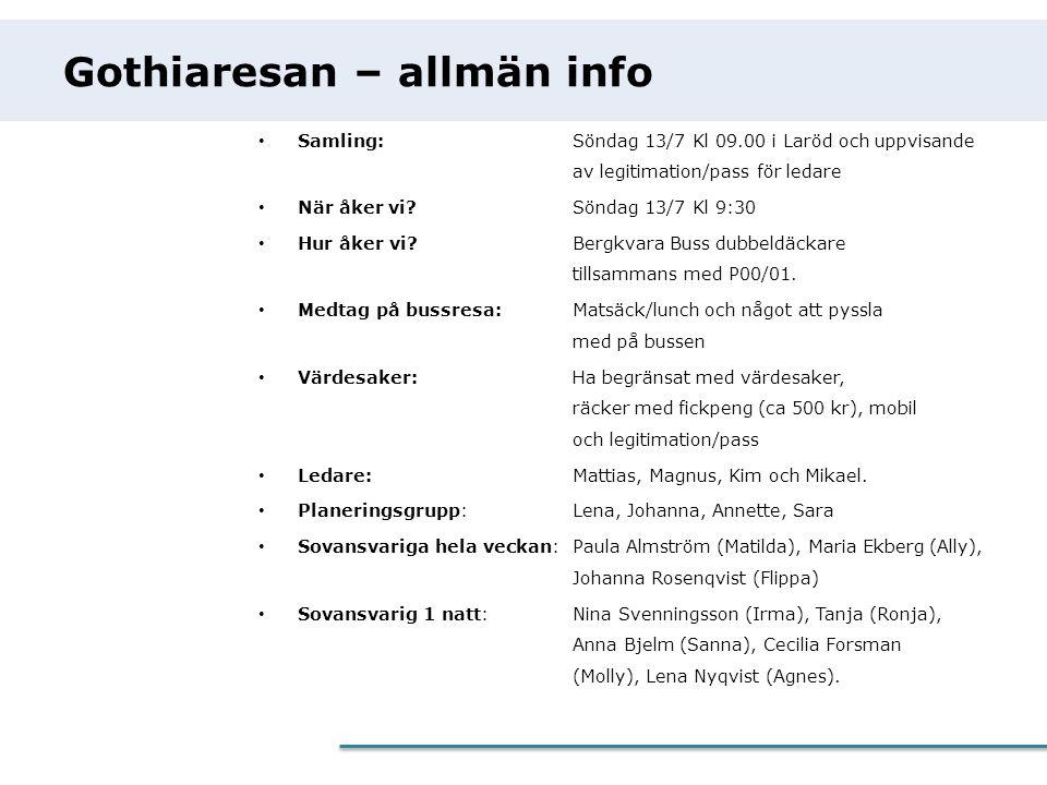Gothiaresan – allmän info • Samling:Söndag 13/7 Kl 09.00 i Laröd och uppvisande av legitimation/pass för ledare • När åker vi?Söndag 13/7 Kl 9:30 • Hu