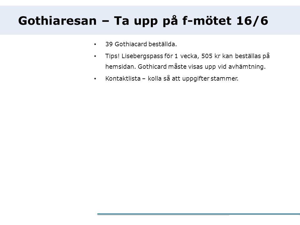 eCommerce Programme Gothiaresan – Ta upp på f-mötet 16/6 • 39 Gothiacard beställda. • Tips! Lisebergspass för 1 vecka, 505 kr kan beställas på hemsida