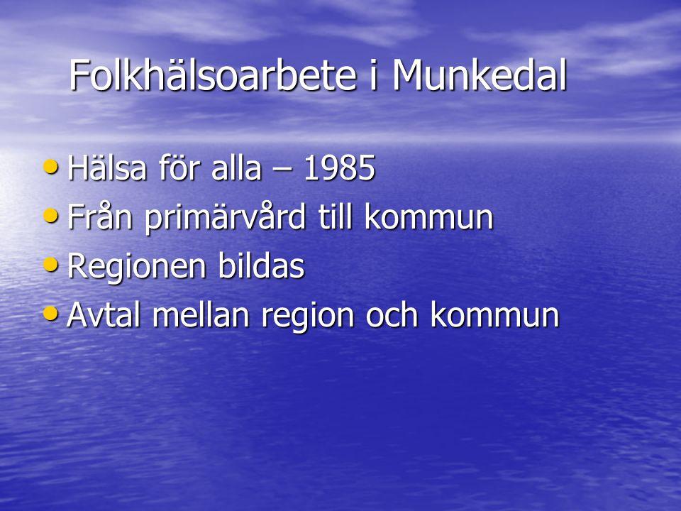 Folkhälsoarbete i Munkedal • Hälsa för alla – 1985 • Från primärvård till kommun • Regionen bildas • Avtal mellan region och kommun