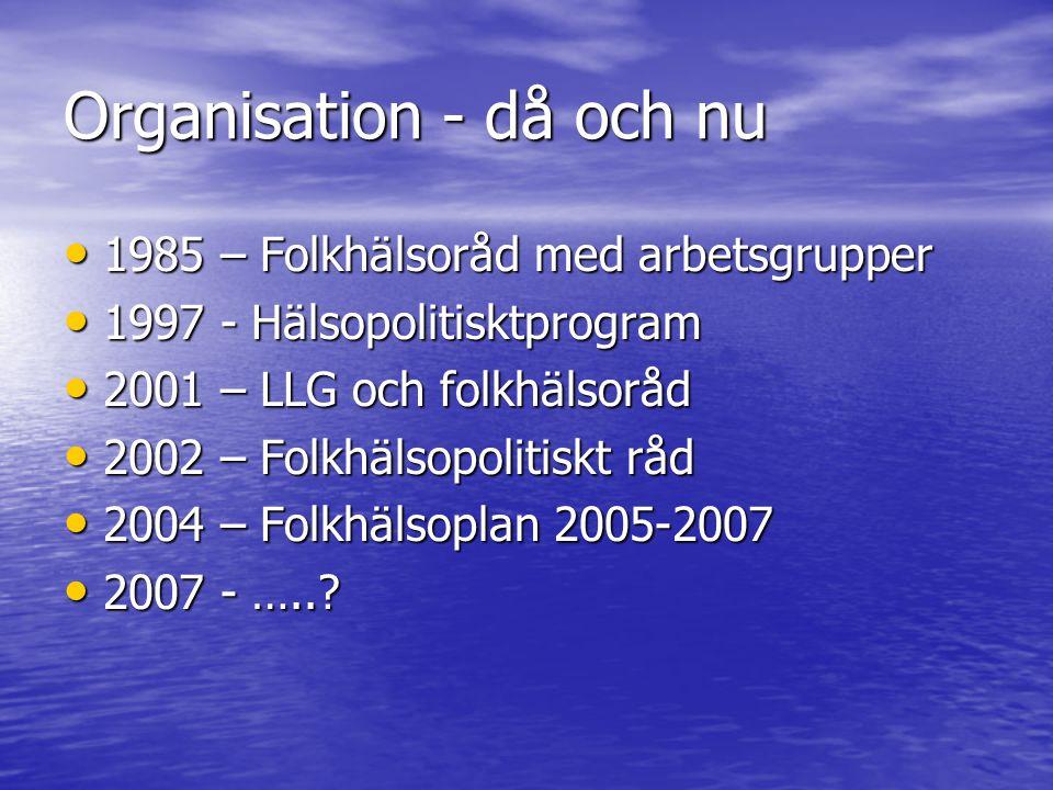 Organisation - då och nu • 1985 – Folkhälsoråd med arbetsgrupper • 1997 - Hälsopolitisktprogram • 2001 – LLG och folkhälsoråd • 2002 – Folkhälsopolitiskt råd • 2004 – Folkhälsoplan 2005-2007 • 2007 - …..?