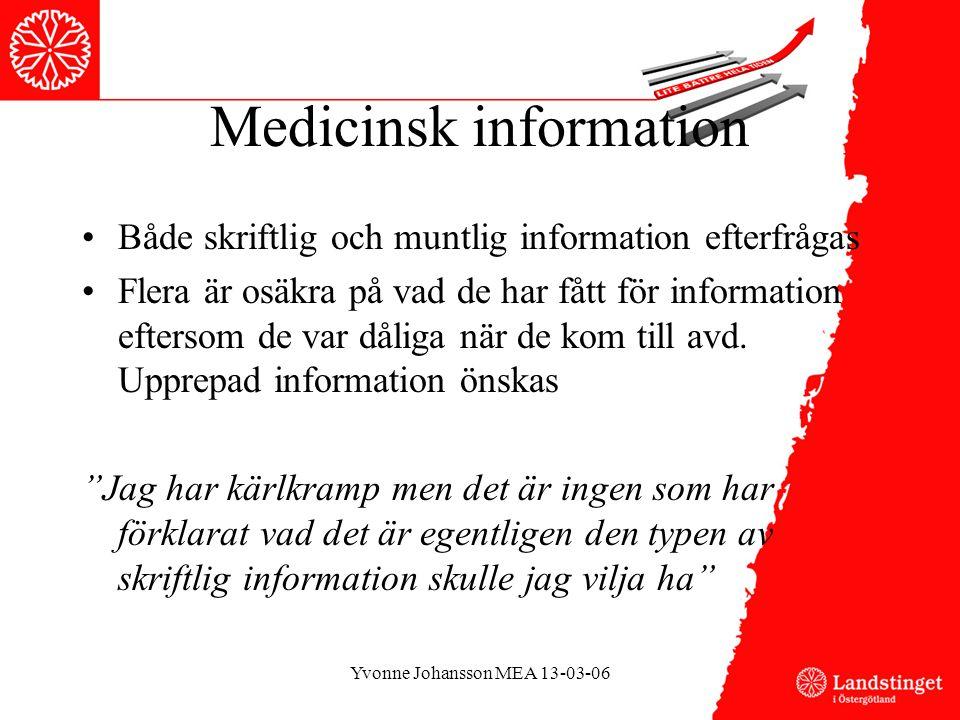 Medicinsk information •Både skriftlig och muntlig information efterfrågas •Flera är osäkra på vad de har fått för information eftersom de var dåliga när de kom till avd.