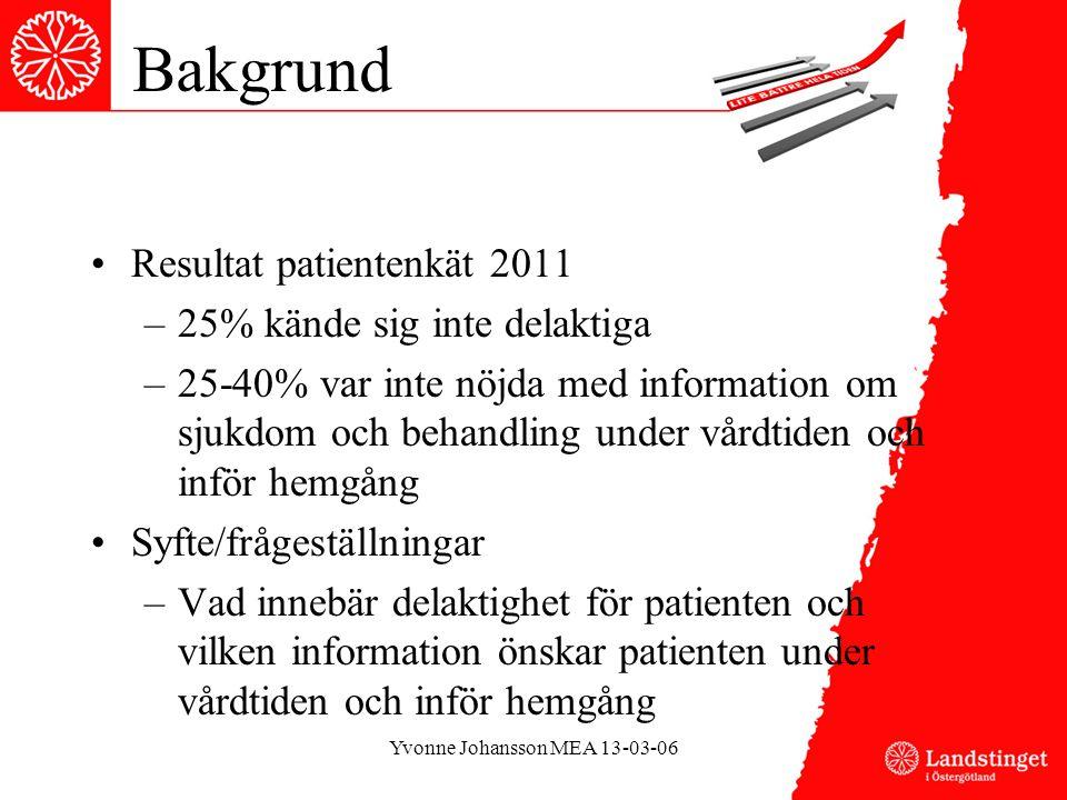 Bakgrund •Resultat patientenkät 2011 –25% kände sig inte delaktiga –25-40% var inte nöjda med information om sjukdom och behandling under vårdtiden och inför hemgång •Syfte/frågeställningar –Vad innebär delaktighet för patienten och vilken information önskar patienten under vårdtiden och inför hemgång Yvonne Johansson MEA 13-03-06