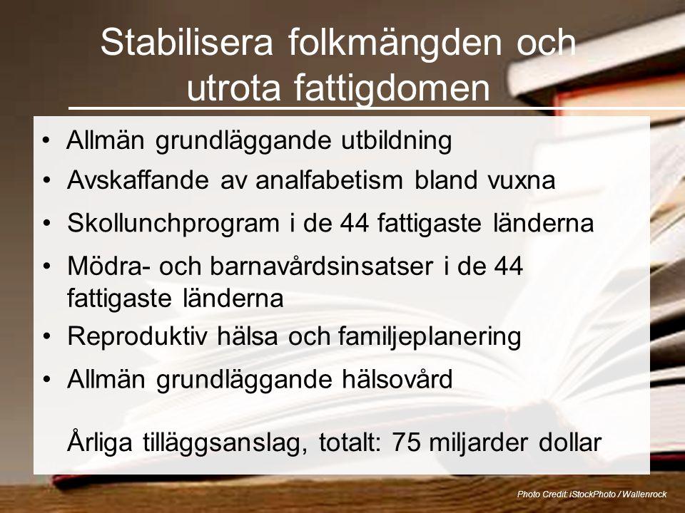 Stabilisera folkmängden och utrota fattigdomen •Allmän grundläggande utbildning Photo Credit: iStockPhoto / Wallenrock •Avskaffande av analfabetism bl