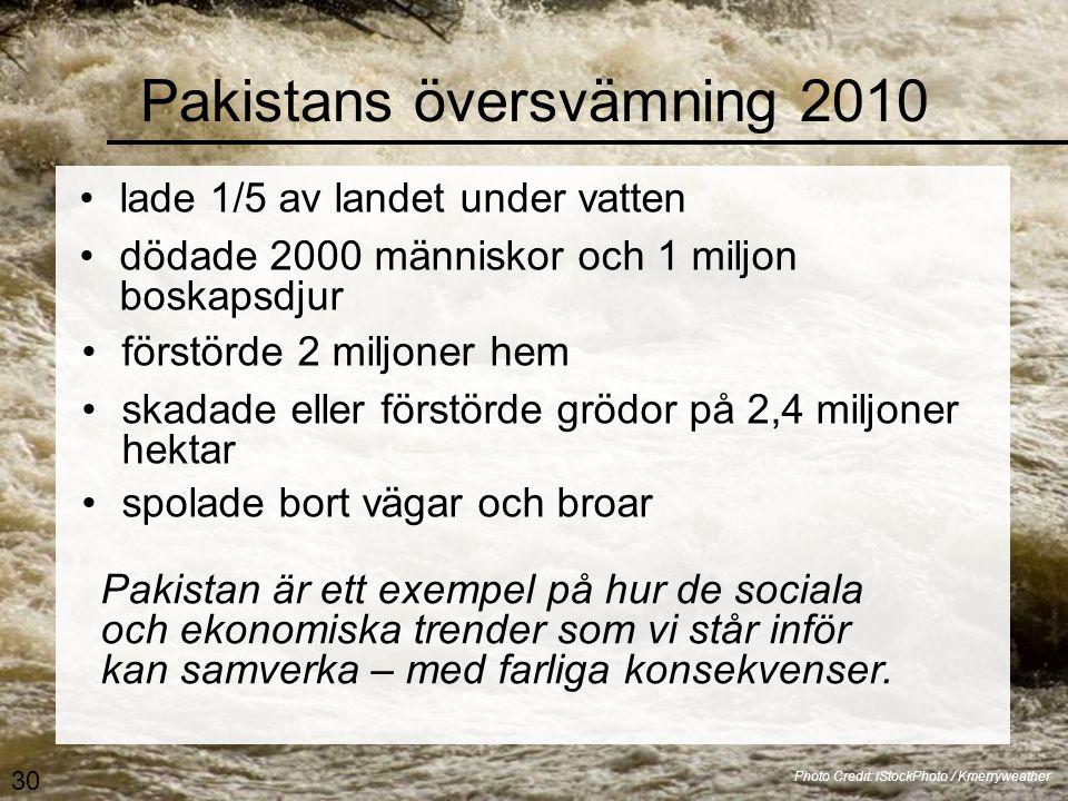 Pakistans översvämning 2010 •lade 1/5 av landet under vatten Photo Credit: iStockPhoto / Kmerryweather Pakistan är ett exempel på hur de sociala och ekonomiska trender som vi står inför kan samverka – med farliga konsekvenser.