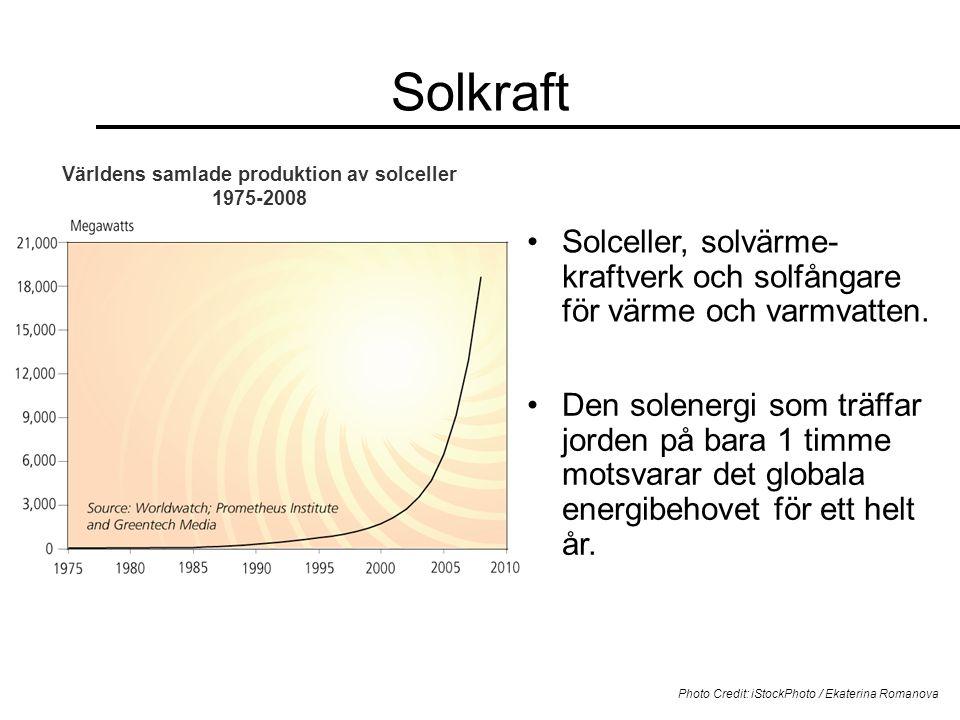 Solkraft •Solceller, solvärme- kraftverk och solfångare för värme och varmvatten. Photo Credit: iStockPhoto / Ekaterina Romanova Världens samlade prod