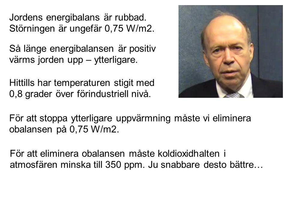 Jordens energibalans är rubbad. Störningen är ungefär 0,75 W/m2. Så länge energibalansen är positiv värms jorden upp – ytterligare. För att stoppa ytt