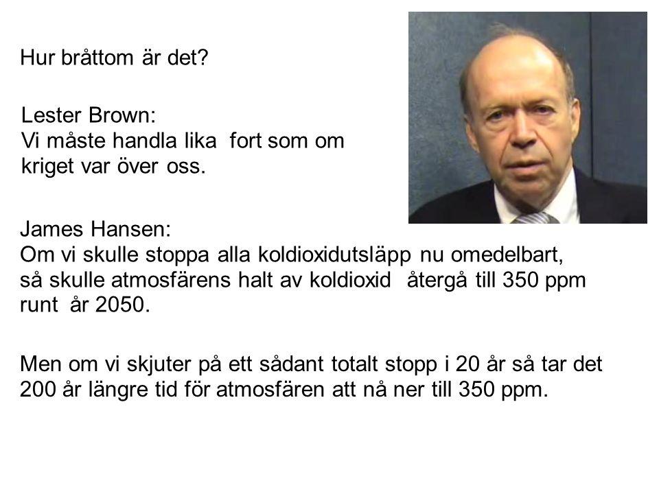 Hur bråttom är det? James Hansen: Om vi skulle stoppa alla koldioxidutsläpp nu omedelbart, så skulle atmosfärens halt av koldioxid återgå till 350 ppm