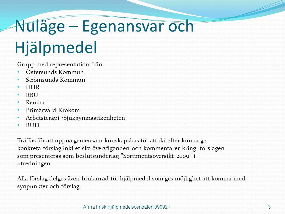 Nuläge – Egenansvar och Hjälpmedel Grupp med representation från • Östersunds Kommun • Strömsunds Kommun • DHR • RBU • Reuma • Primärvård Krokom • Arb