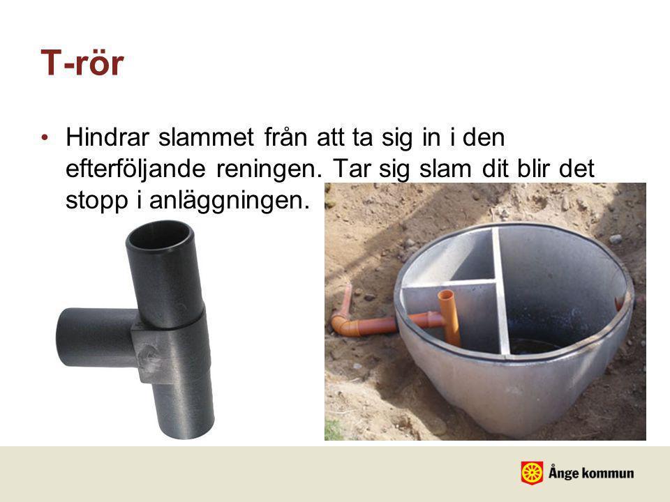 T-rör • Hindrar slammet från att ta sig in i den efterföljande reningen. Tar sig slam dit blir det stopp i anläggningen.