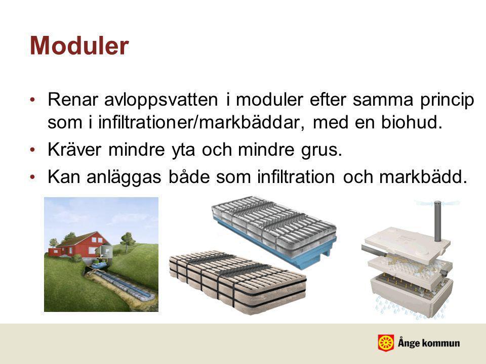 Moduler • Renar avloppsvatten i moduler efter samma princip som i infiltrationer/markbäddar, med en biohud. • Kräver mindre yta och mindre grus. • Kan