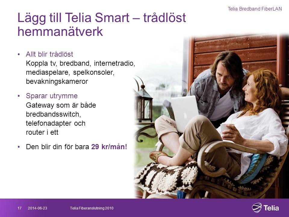 2014-06-2317Telia Fiberanslutning 2010 Lägg till Telia Smart – trådlöst hemmanätverk •Allt blir trådlöst Koppla tv, bredband, internetradio, mediaspel